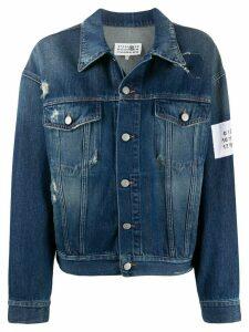 Mm6 Maison Margiela distressed floral patch denim jacket - Blue