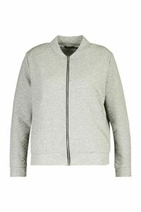Womens Plus Quilted Sweat Zip Through Bomber - Grey - 20, Grey