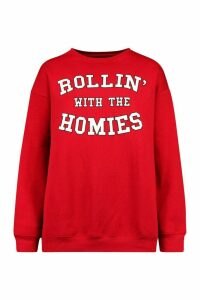 Womens Rolling With The Homies Slogan Oversized Sweatshirt - Red - M, Red