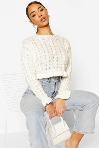 Womens Ruffle Hem Cropped Jumper - White - M, White
