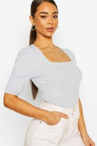 Womens Square Neck Puff Sleeve Rib Top - Blue - 16, Blue