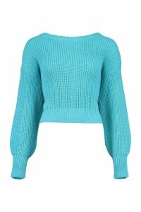 Womens Slash Neck Knitted Jumper - Blue - L, Blue