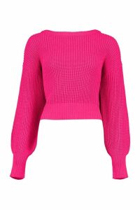 Womens Slash Neck Knitted Jumper - Pink - M, Pink