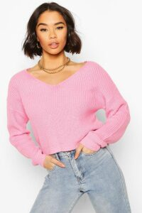 Womens Cropped Fisherman V Neck Jumper - Pink - M, Pink