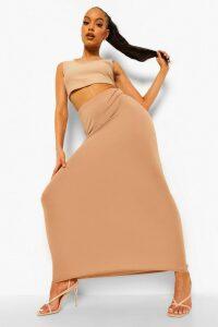 Womens Basic Jersey Maxi Skirt - Beige - 14, Beige