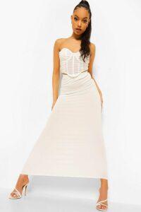 Womens Basic Jersey Maxi Skirt - White - 8, White