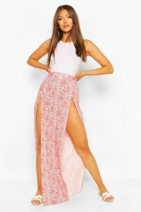 Womens Paisley Print Split Front Maxi Skirt - Red - 16, Red