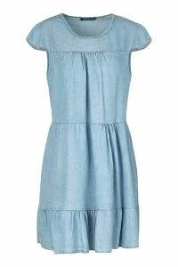 Womens Chambray Tierred Smock Dress - Blue - 16, Blue