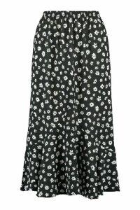 Womens Drop Hem Floral Woven Midaxi Skirt - Black - 16, Black