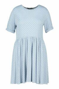 Womens Plus Polka Dot Smock Dress - Blue - 20, Blue