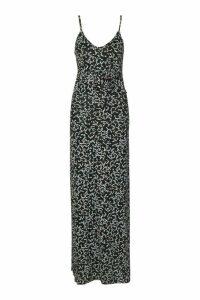 Womens Ditsy Print Peplum Strappy Jersey Maxi - Black - 18, Black
