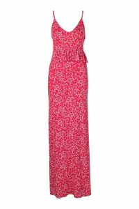 Womens Ditsy Print Peplum Strappy Jersey Maxi - Red - 10, Red