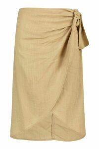 Womens Linen Tie Side Midi Skirt - Beige - L, Beige