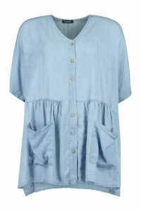 Womens Chambray Button Front Pocket Smock Dress - Blue - 12, Blue