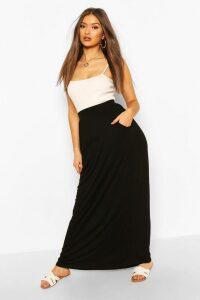 Womens Pocket Side Floor Sweeping Maxi Skirt - Black - 16, Black