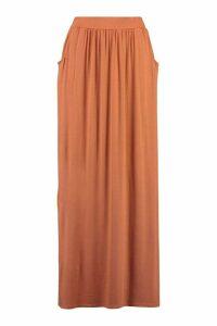 Womens Pocket Side Floor Sweeping Maxi Skirt - Orange - 16, Orange