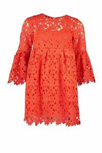 Womens Heavy Lace Flare Sleeve Smock Dress - Orange - M, Orange