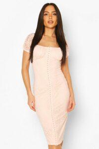 Womens Off Shoulder Hook & Eye Lace Dress - Beige - 18, Beige