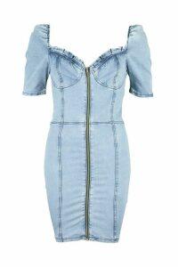 Womens Denim Ruffle Detail Puff Sleeve Dress - Blue - 16, Blue