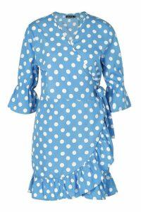 Womens Woven Spot Print Tie Side Tea Dress - Blue - 16, Blue