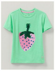 Crew Clothing Stripe Flip Sequin Strawberry T-Shirt