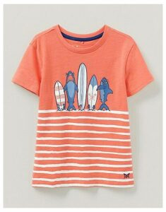 Crew Clothing Surfboard And Shark T-Shirt