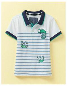 Crew Clothing Stripe Jersey Lizard Print Polo Shirt