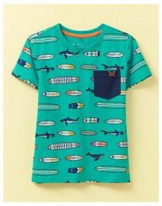 Crew Clothing Slub Surf Shark Print T-Shirt