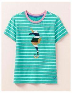 Crew Clothing Stripe Flip Sequin Seahorse T-Shirt