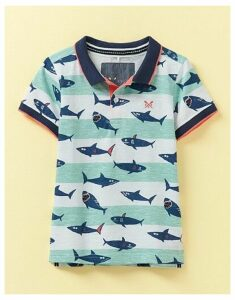 Crew Clothing Stripe Shark Print Jersey Polo Shirt