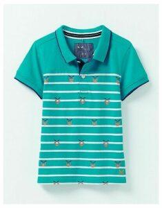 Crew Clothing Stripe Jersey Crab Print Polo Shirt