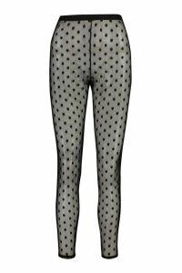 Womens Large Dobby Mesh Spot Leggings - Black - 16, Black