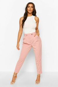 Womens Tailored Crepe Carrot Leg Trouser - Pink - 14, Pink