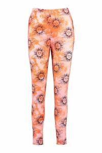 Womens Sun Tie Dye Leggings - Orange - 16, Orange