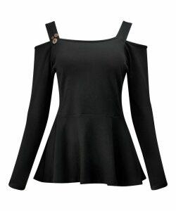 Open Shoulder Basic T-Shirt