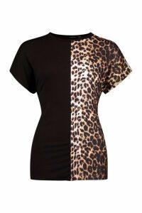 Womens Leopard Panel Colour Block T-Shirt - Black - 12, Black