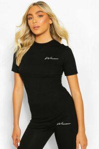 Womens Woman Print Slim Fit Top - Black - 14, Black