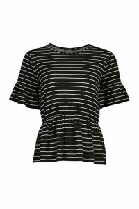Womens Stripe Ruffle Sleeve Smock Top - Black - 12, Black