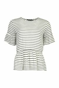 Womens Stripe Ruffle Sleeve Smock Top - White - 14, White