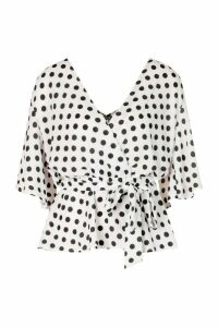 Womens Frill Sleeve Polkadot Blouse - Black - 14, Black