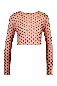 Womens Spot Print Long Sleeve Mesh Top - Pink - 14, Pink