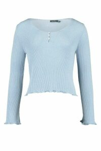 Womens Rib Knit Ruffle Detail Pearl Button Top - Blue - 16, Blue