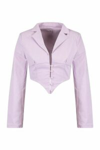 Womens Button Front Plunge Blazer Top - Purple - 16, Purple