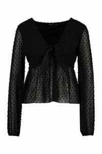 Womens Dobby Tie Front Smock Top - Black - 14, Black