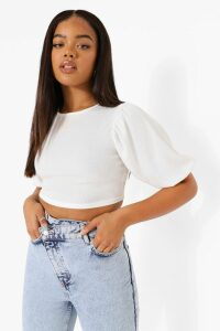 Womens Rib Puff Sleeve Crop Top - White - 14, White