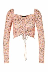 Womens Floral Print Ruched Front Crop Top - Pink - 16, Pink