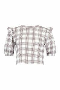 Womens Check Frill Shoulder Top - Mono - 14, Mono