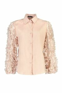 Womens Floral Applique Organza Shirt - Pink - 14, Pink