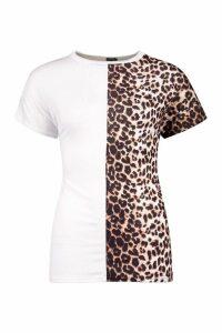 Womens Leopard Panel Colour Block T-Shirt - White - 8, White