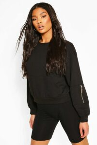Womens Utility Pocket Sleeve Jumper - Black - M, Black